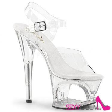 MOON-708 Průhledné sexy sandály na vysokém podpatku