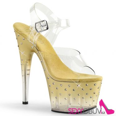 STARDUST-708T Sexy go-go boty zlato průhledné