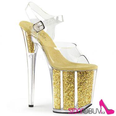 FLAMINGO-808G Zlaté sandály na extra podpatku