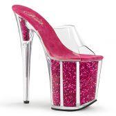 FLAMINGO-801G Extra vysoké růžové pantofle s glitry