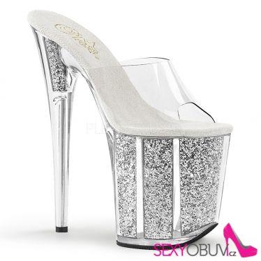 FLAMINGO-801G Extra vysoké stříbrné pantofle s glitry