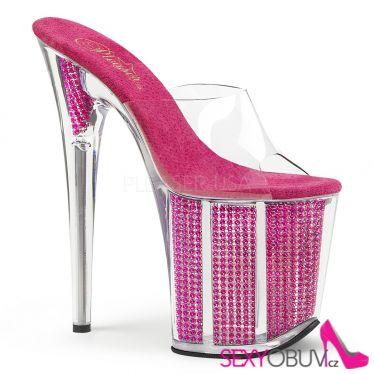 FLAMINGO-801SRS Růžové pantofle s extra podpatky a kamínky