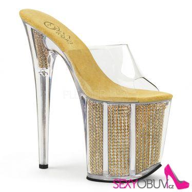 FLAMINGO-801SRS Zlaté pantofle s extra podpatky a kamínky