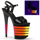 FLAMINGO-809UVLN Černé sexy boty se svítícími pásky
