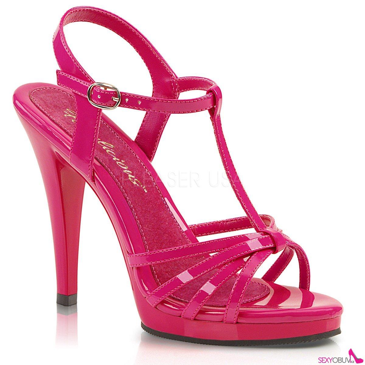 FLAIR-420 Tmavě růžové sandálky na vysokém podpatku a nízké platformě d5773a8c17