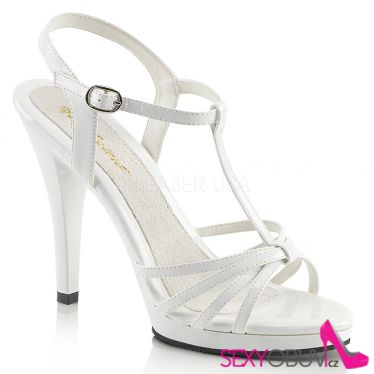 FLAIR-420 Bílé svatební sandálky na vysokém podpatku