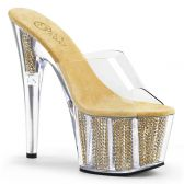 ADORE-701SRS Zlaté pantofle s kamínky v platformě