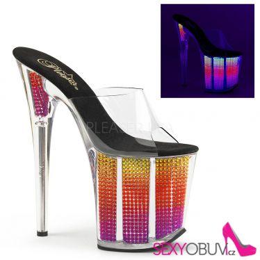 FLAMINGO-801SRS Svítící sexy pantofle na extra podpatku