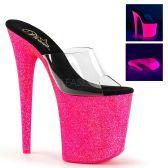 FLAMINGO-801UVG Růžové svítící pantofle na extra podpatku