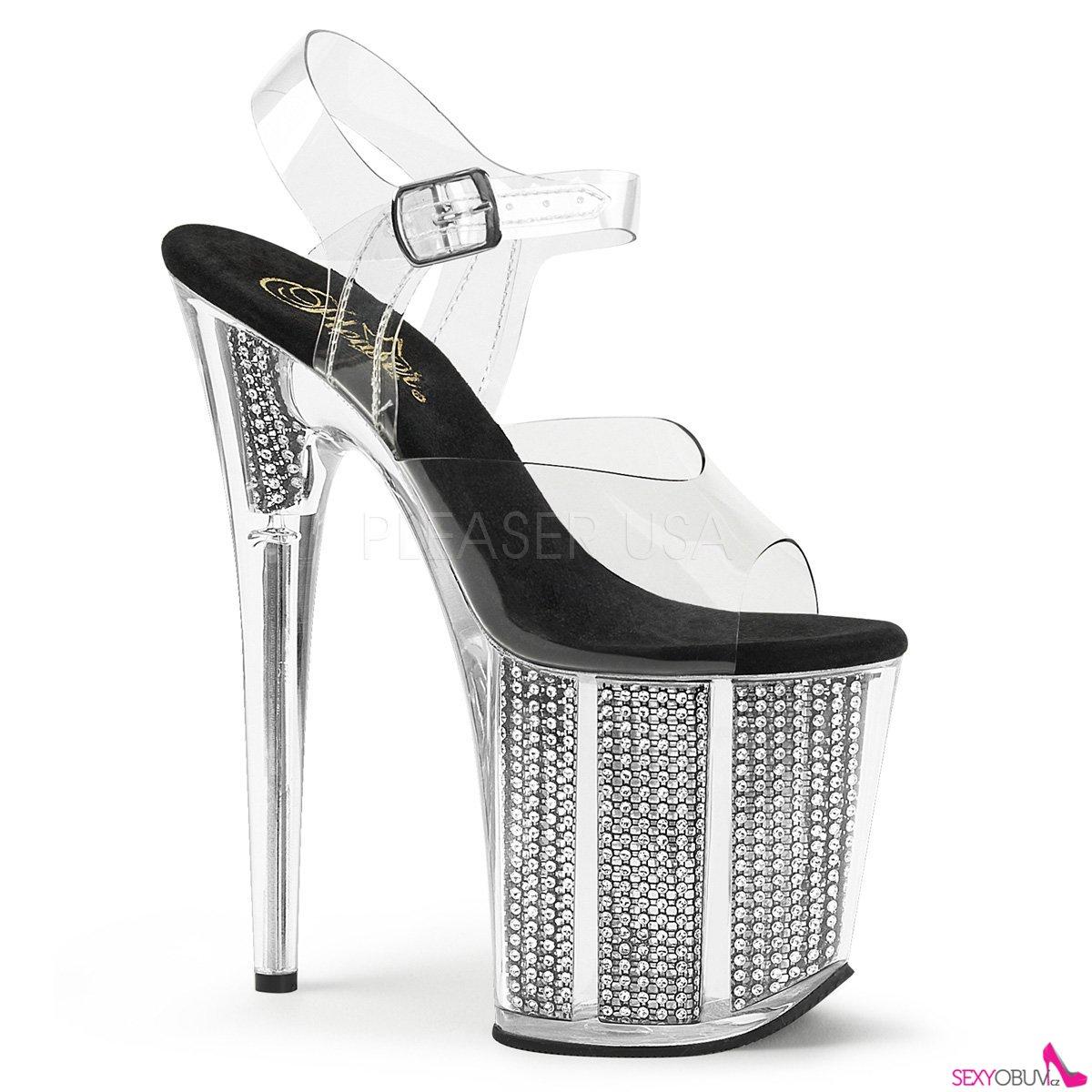 12916e842b8a FLAMINGO-808SRS Luxusní pantofle na extra vysokém podpatku s kamínky ...