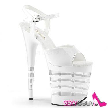 FLAMINGO-809LN Sexy bílé boty na vysokém podpatku a platformě