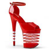 FLAMINGO-889LN Červené sexy boty na extra vysokém podpatku a platformě