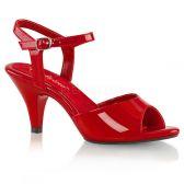 BELLE-309 Červené plesové sandály na nízkém podpatku
