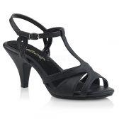 BELLE-322 Černé matné sandály na nízkém podpatku