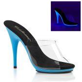 POISE-501UV Modré svítící pózovací pantofle na vysokém podpatku