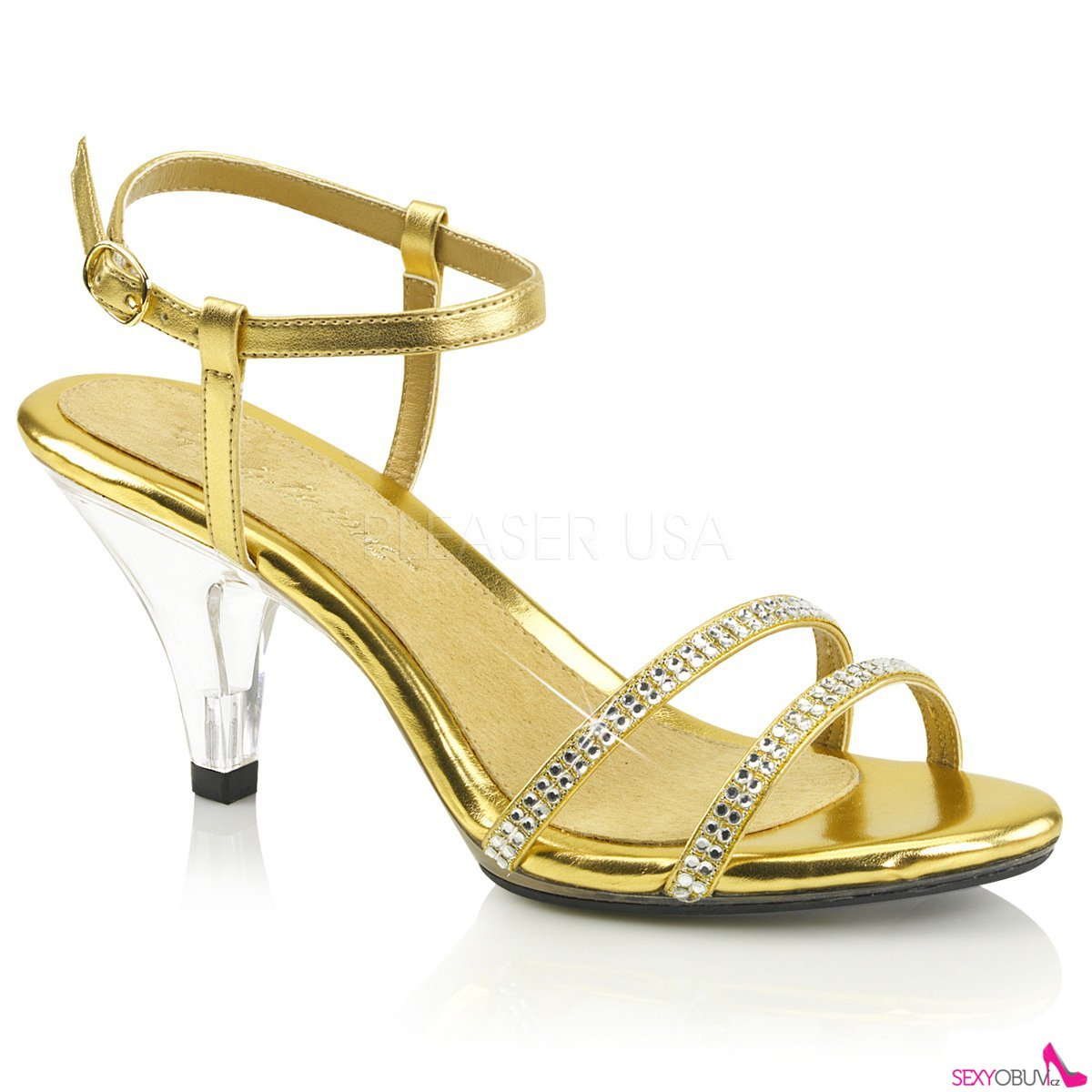 595f1f1180e1 BELLE-316 Páskové zlaté sandály na nízkém podpatku