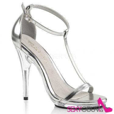 POISE-526 Stříbrné sandály na vysokém podpatku