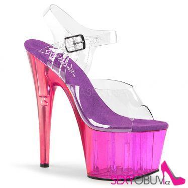 ADORE-708MCT Červené fialové a průhledné sexy boty