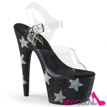 ADORE-708STAR Černé luxusní sexy boty s hvězdami