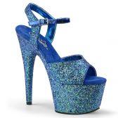 ADORE-710LG Modré sexy boty s bohatým zdobením třpytkami