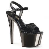 SKY-310SQ Černé sexy boty na vysokém podpatku a platformě