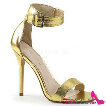 AMUSE-10 Zlaté sandály na jehlovém podpatku