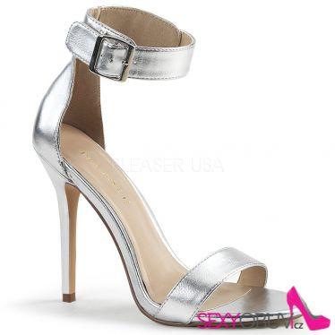 AMUSE-10 Stříbrné sandály na jehlovém podpatku