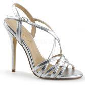 AMUSE-13 Stříbrné páskové boty na jehlovém podpatku