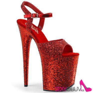 FLAMINGO-810LG Červené sexy boty na extra vysokém podpatku