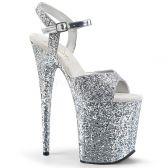 FLAMINGO-810LG Stříbrné sexy boty na extra podpatku