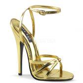 DOMINA-108 Zlaté erotické sandálky na extra vysokém podpatku