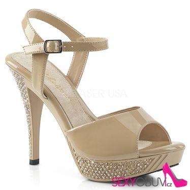 ELEGANT-409 Elegantní tělové společenské sandály na podpatku a platformě