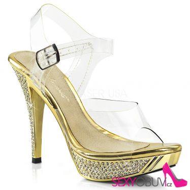 ELEGANT-408 Zlaté společenské sandály