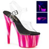 ADORE-708UVP Růžové svítící sexy boty na vysokém podpatku a platformě