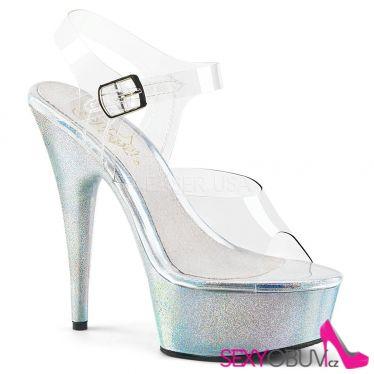 DELIGHT-608HG Sexy boty s holografickými třpytkami na podpatku a platformě