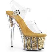 ADORE-708G Zlaté go-go sandály na vysokém podpatku a platformě