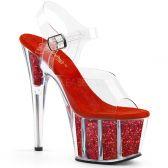 ADORE-708G Červené exotic dance sandály na vysokém podpatku