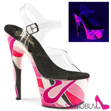 ADORE-708UVR Extravagantní sexy boty na vysokém podpatku a platformě