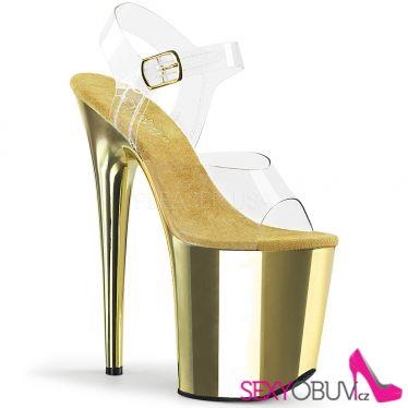 FLAMINGO-808 Zlaté sandály na extrémním podpatku