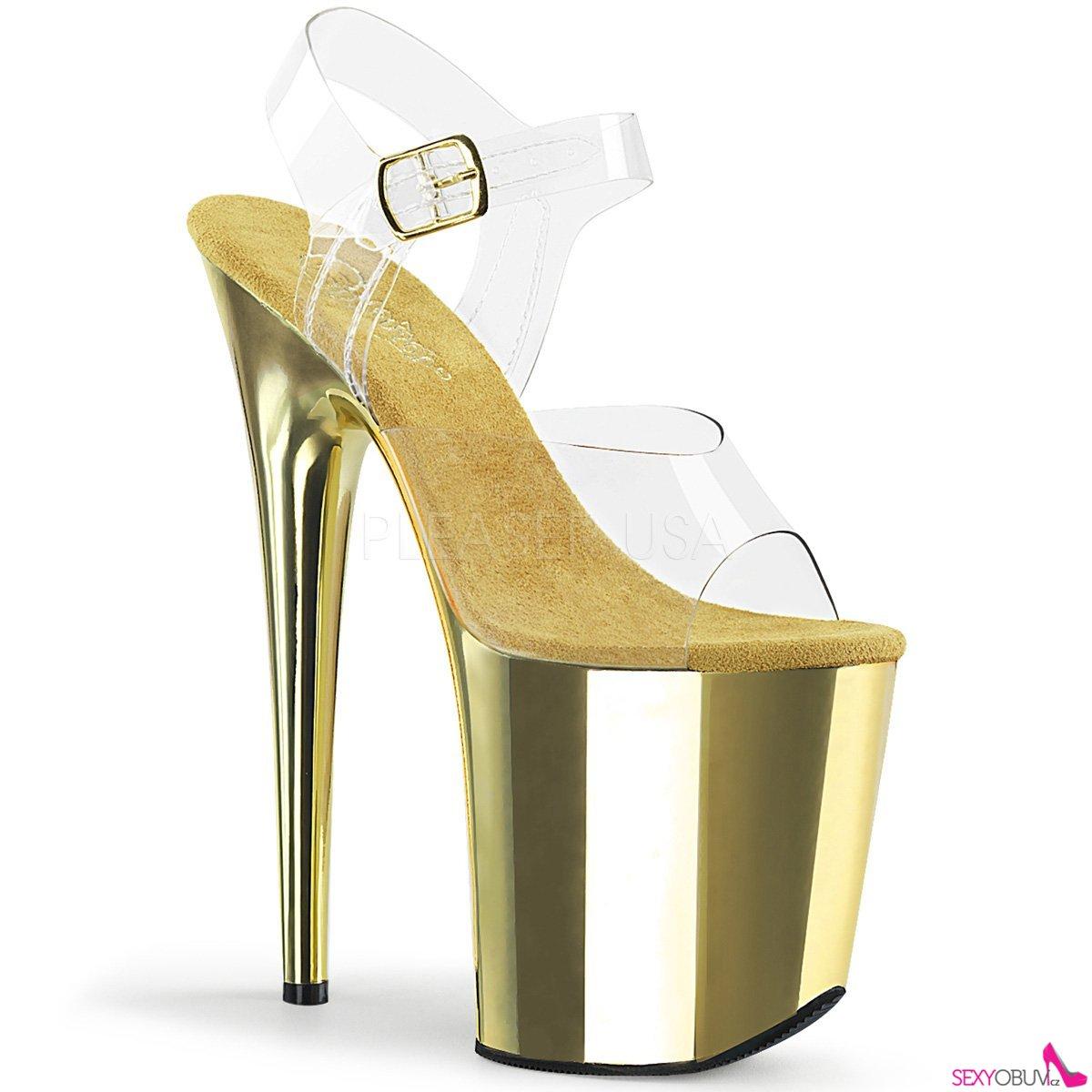 127139196763 FLAMINGO-808 Zlaté sandály na extrémním podpatku