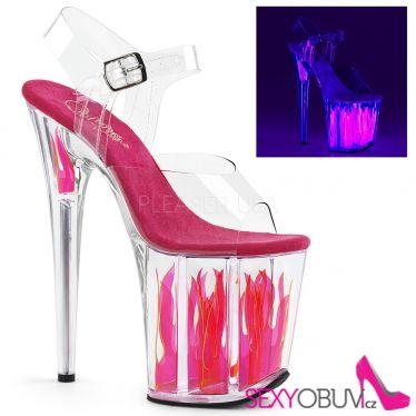 FLAMINGO-808FLM Svítící růžové sexy boty na extrémním podpatku a platformě