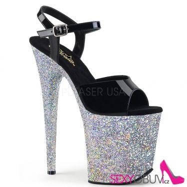 FLAMINGO-809LG Vysoké stříbrné sandály flam809lg/b/sg