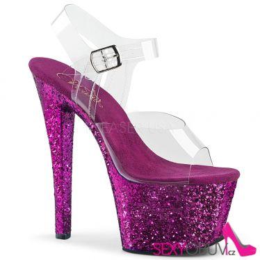 SKY-308LG Fialové boty na vysokém podpatku a platformě