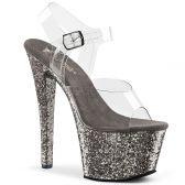 SKY-308LG Šedivé boty na vysokém podpatku a platformě
