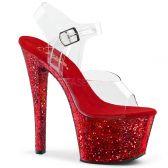SKY-308LG Červené sexy sandály na vysokém podpatku a platformě
