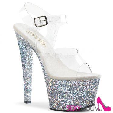 SKY-308LG Stříbrné sexy sandály na vysokém podpatku a platformě