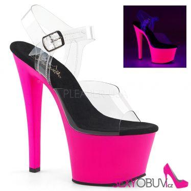 SKY-308UV Svítící růžové sexy sandály na vysokém podpatku a platformě sky308uv/c/nhp