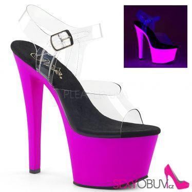 SKY-308UV Svítící fialové sexy sandály na vysokém podpatku a platformě sky308uv/c/npp