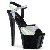 SKY-309HG Černé sexy boty se stříbrnými holografickými pásky