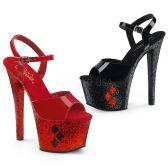 SKY-309HQ Jedna červená a druhá černá sexy bota